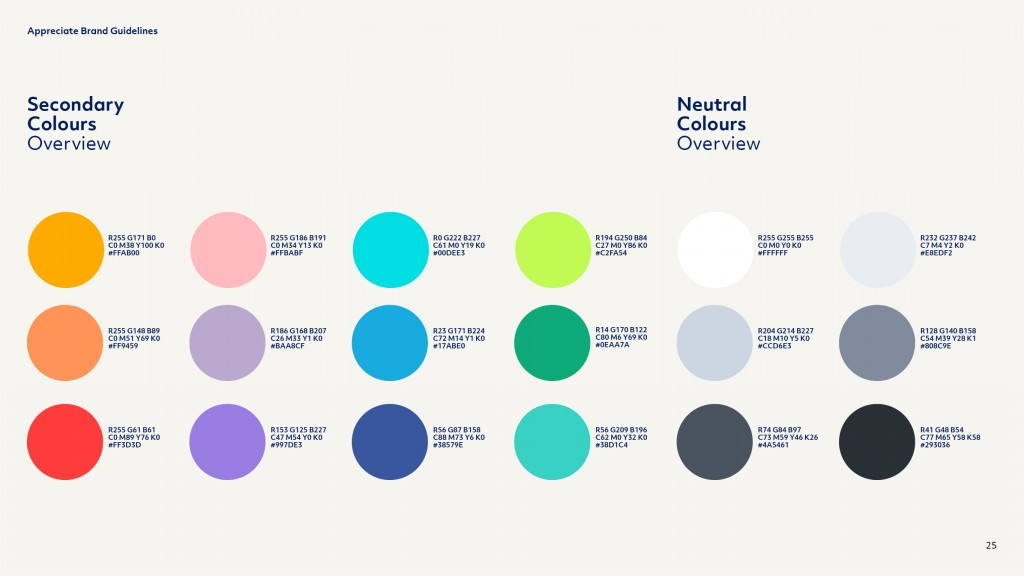 Appreciate Group Brand Guidelines Secondary Colours Page