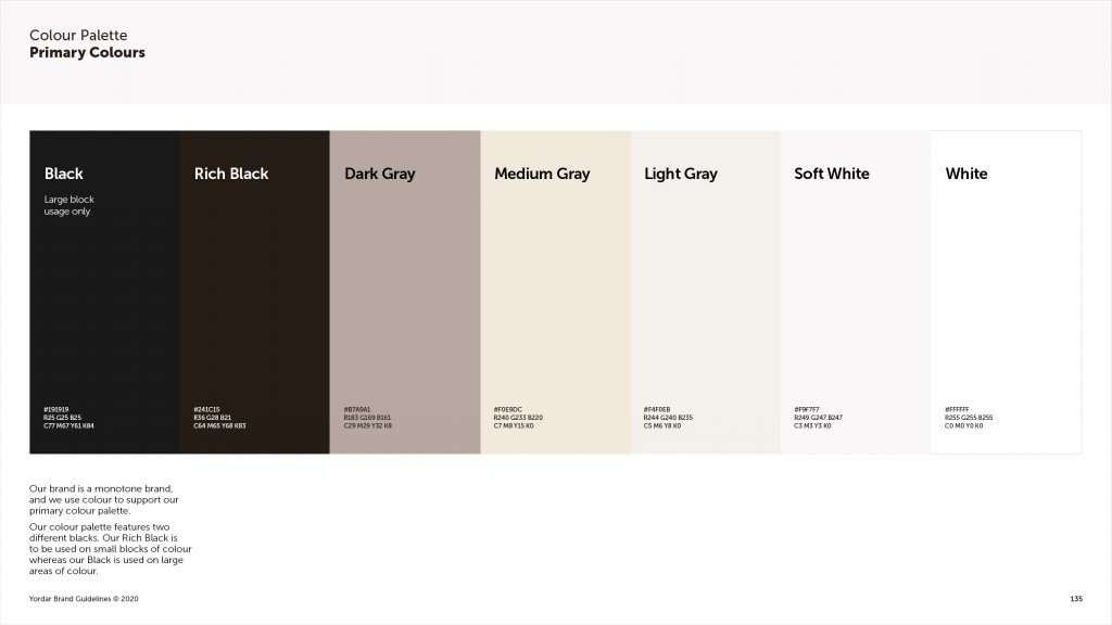 Yordar Brand Guidelines Primary Colour Palette Page